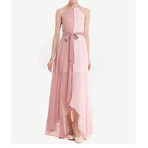 Coventavenue - Color-Block Chiffon Belt Maxi Dress